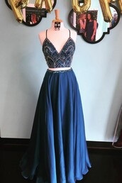 dress,navy dress,prom dress,two piece dress set,two-piece