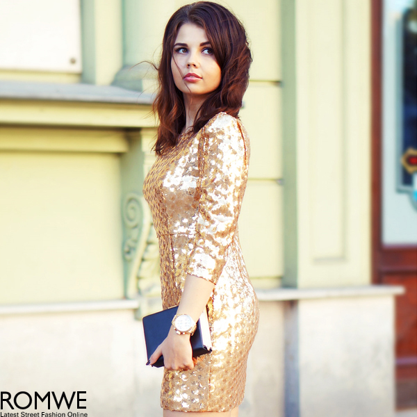 ROMWE | Sequined Golden Dress, The Latest Street Fashion