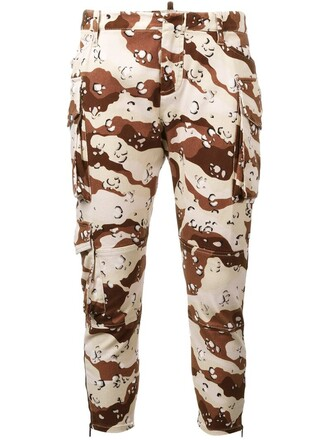 cropped women camouflage spandex cotton brown pants