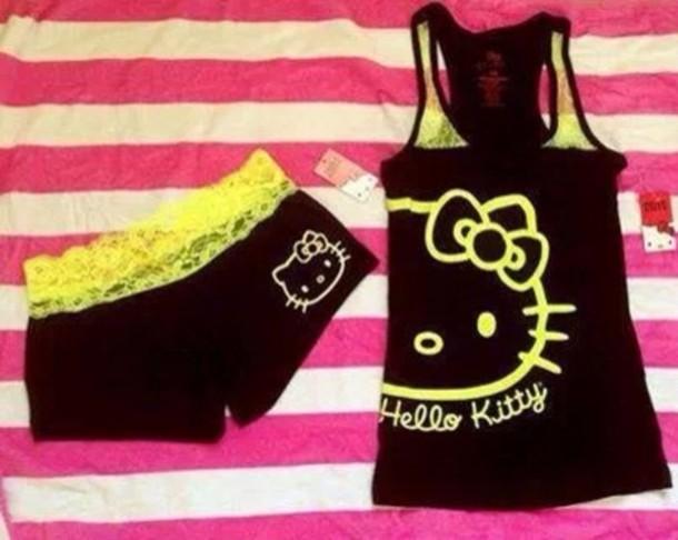 underwear black hello kitty nightwear shorts blouse
