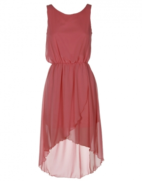 Coral pink chiffon high low hi lo dress