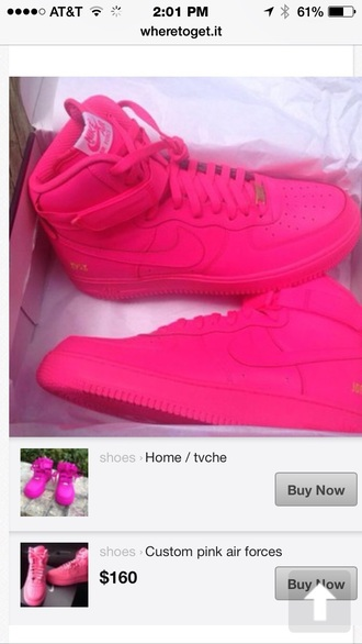 bag shoes neon pink sneakers nike air force 1 neon pink high top sneakers