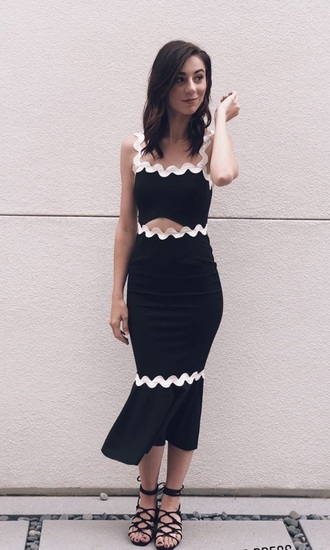 dress black and white cut-out strappy dress bodycon dress midi dress going out