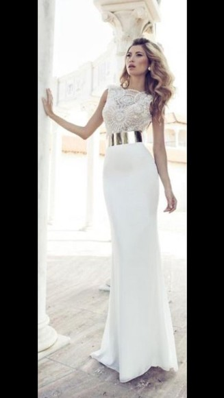 prom dress prom white dress gold white pretty dress