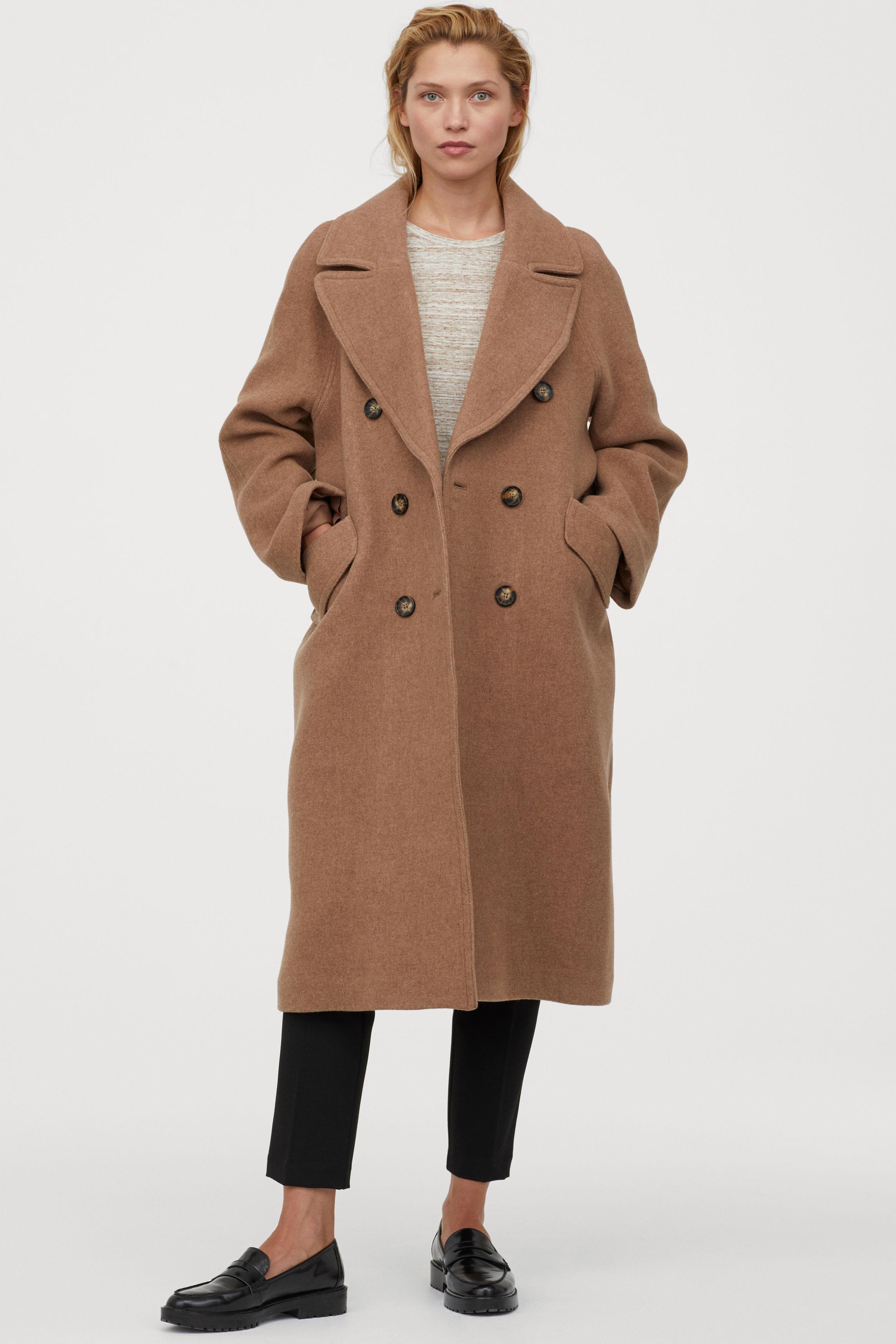 Abrigo largo en mezcla de lana - Beige oscuro - MUJER | H&M ES