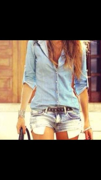 shirt t-shirt denim shorts cut off shorts denim shirt blue denim t-shirt denim jacket blue shirt jeans shorts gold jewelry
