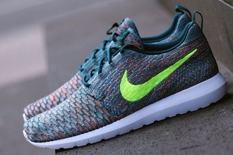 shoes nike roshe one flyknit acid green turquoise orange nike roshe run nike running shoes roshe runs nike flyknit flyknit