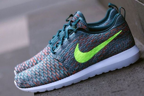 quality design e7747 d6446 shoes nike roshe one flyknit acid green turquoise orange nike roshe run  nike running shoes roshe