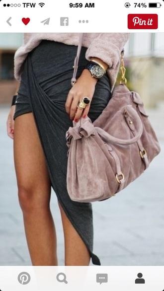 skirt grey skirt asymmetrical skirt