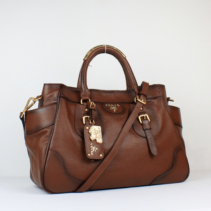 appeal Prada Chocolate Brown Handbag Leather YZ8721 in high quality