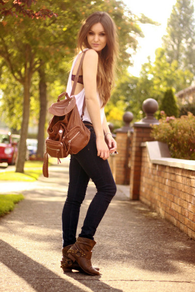 bag brown bag brown leather boots leather backpack boots leather boots fall outfits
