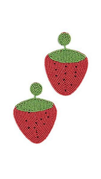 Kenneth Jay Lane earrings strawberry green red jewels