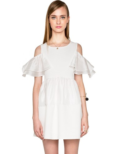 White Off The Shoulder Dress - Organza Summer Dress -$82