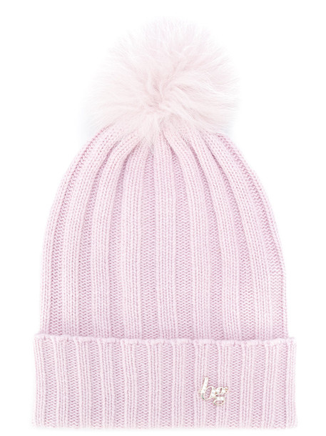 fur fox women beanie wool purple pink hat