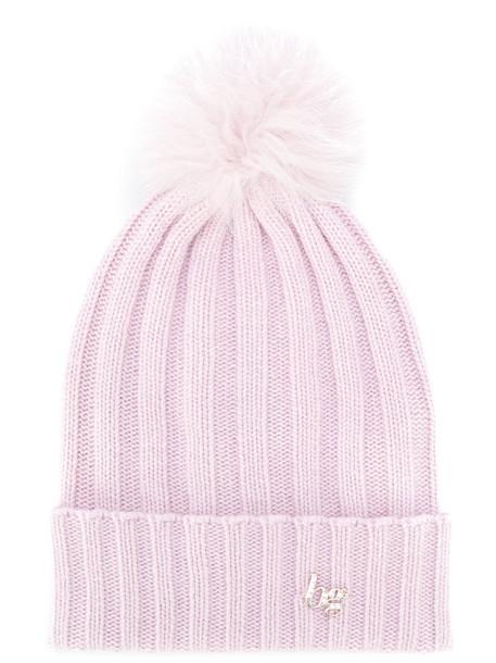 Blugirl fur fox women beanie wool purple pink hat