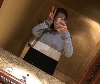 sweater black grey white colorblock crewneck