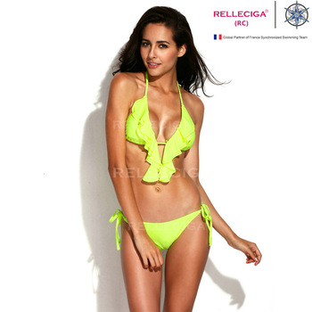 Free shipping 2014 New Arrivals! RELLECIGA Solid Neon Green Full Lined Ruffle Triangle Top with Brazilian Cut Butt Bikini Set-in Bikinis Set from Apparel & Accessories on Aliexpress.com | Alibaba Group