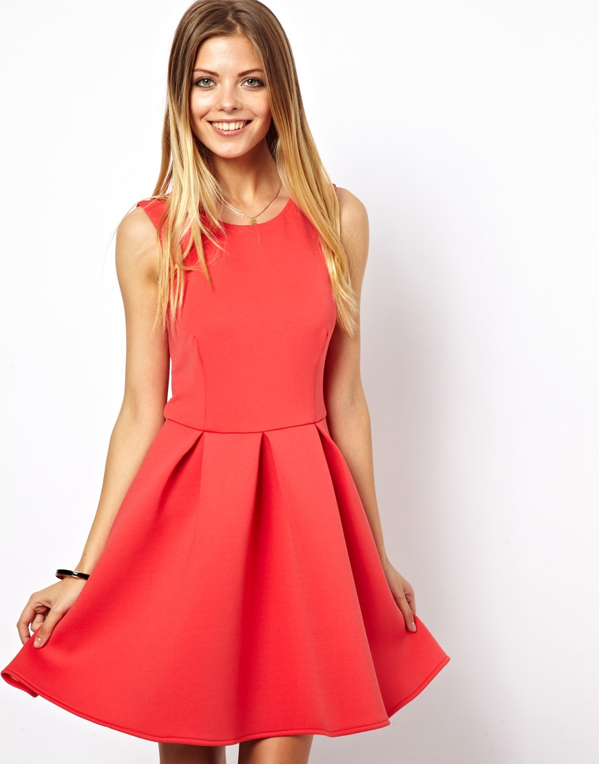 ASOS Skater Dress In Bonded Fabric at asos.com