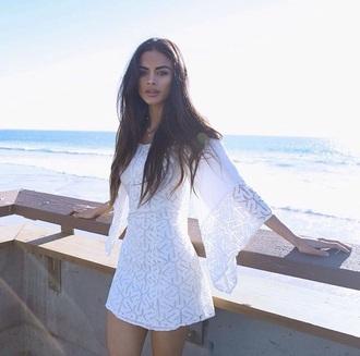 dress beach dress beach white dress summer lace dress cover up coachella bell sleeves bell sleeve dress