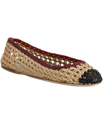 Prada tan tri-color woven leather ballet flats at Bluefly