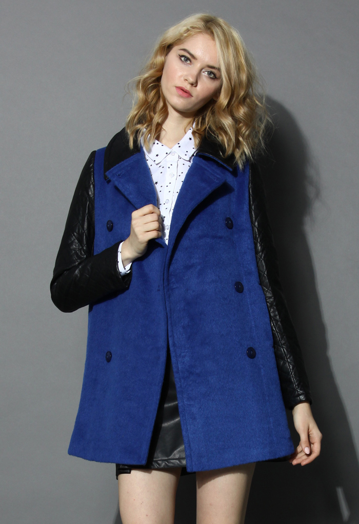 Double-breasted Blue Coat with Twill Sleeves - Retro, Indie and Unique Fashion