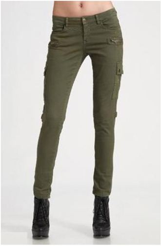 jeans cargo pants olive green military style skinny jeans front pockets