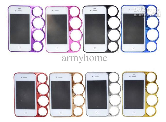 Wholesale hard frame electroplate new arrival knuckle case for iphone 4 4g 4s with retail box, $3.21