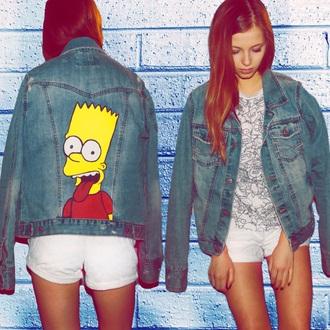 jacket denim bart simpson style tumblr the simpsons denim jacket tumblr outfit grunge soft grunge hipster