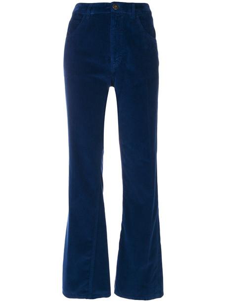 Prada cropped women cotton blue velvet pants