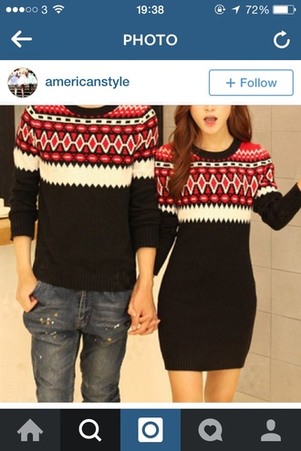 couple sweaters christmas sweater sweater red dress holiday season style dress winter outfits december black dress matching boyfriend sweater couples shirts couple outfit sweater dress boyfriend mens sweater couple both bag