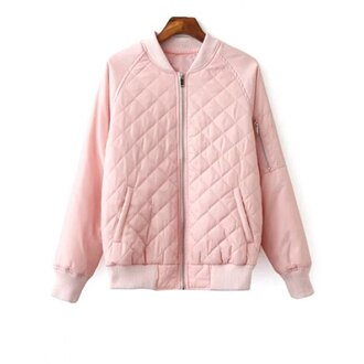 jacket fashion style light pink long sleeves pink bomber jacket girly trendsgal.com