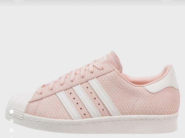 shoes, blush pink, adidas, adidas shoes, adidas superstars, superstar, pink, baby pink - Wheretoget
