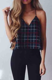 top,straps,strappy,tank top,check,plaid,spring,fall outfits,summer,red,white,pattern,decorate,decorated,decorative,statement,neckline,v neck