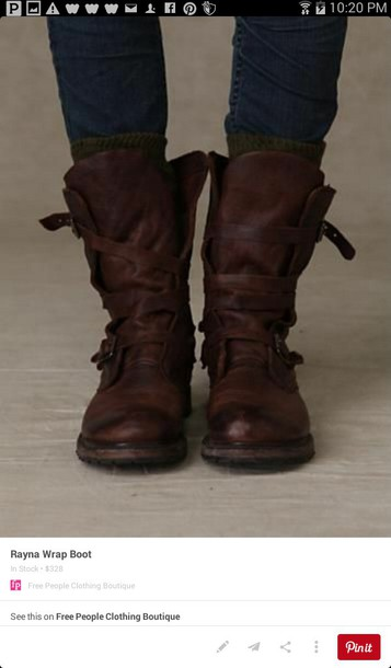 shoes brown combat boots straps buckle boots midcalf combat boots
