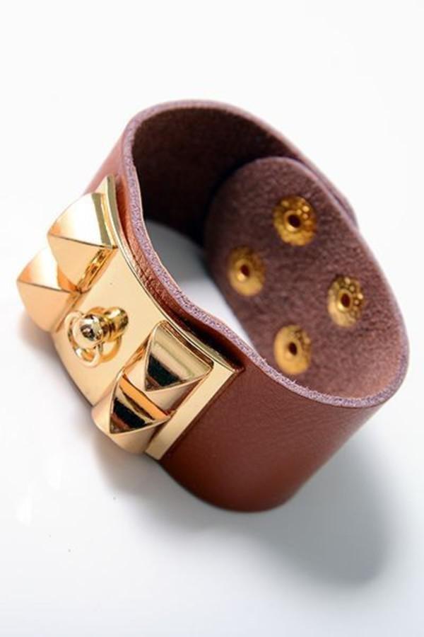 jewels accessories bracelets cuff bracelet cuff brown brown bracelet gold gold studs gold studded snaps