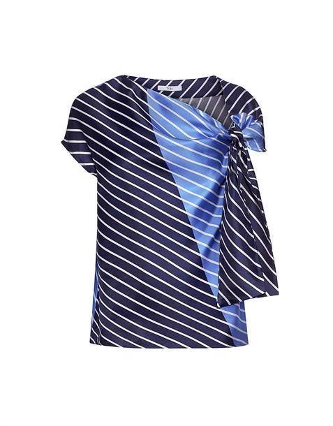 Tibi top asymmetrical navy silk