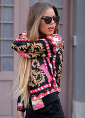jacket,pink,gold,sunglasses,long hair,urban,back,clothes,Scarf Print,pattern,oriental print,pretty,so awesome,blouse,versace,pink and gold,black and gold,pink and black,pink jacket,black leather jacket,gold jacket,sequins,black,fashion,cool,hair,girly,sexy,shirt,style,cute,cute outfits,outfit,fall outfits,neon pink,print,coat,colorful,red,beautiful,chiffon,sweater,vintage sweater,pink sweater,dope,rose pink gold style jacket fashion 2014,muster,gold girly,pink blouse,flowerly,floral,flowerpower,vintage,swag,chain,jumper