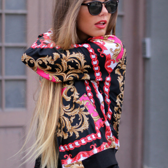 jacket sunglasses pink gold long hair dress clothes streetwear back scarf print pattern oriental print so awesome blouse black moroccan love more coat shirt red colourful beautiful sweater pink sweater vintage sweater dope jacket, cute, black pink gold, rose pink gold style jacket fashion 2014 gold girly pink blouse fashion flowerly floral flowerpower fall outfits chicityfashion swag chain scarf red