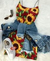 dress,red sunflower dress