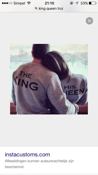 sweater king queen hoodie her king his queen his and hers shirts king and queen grey sweater