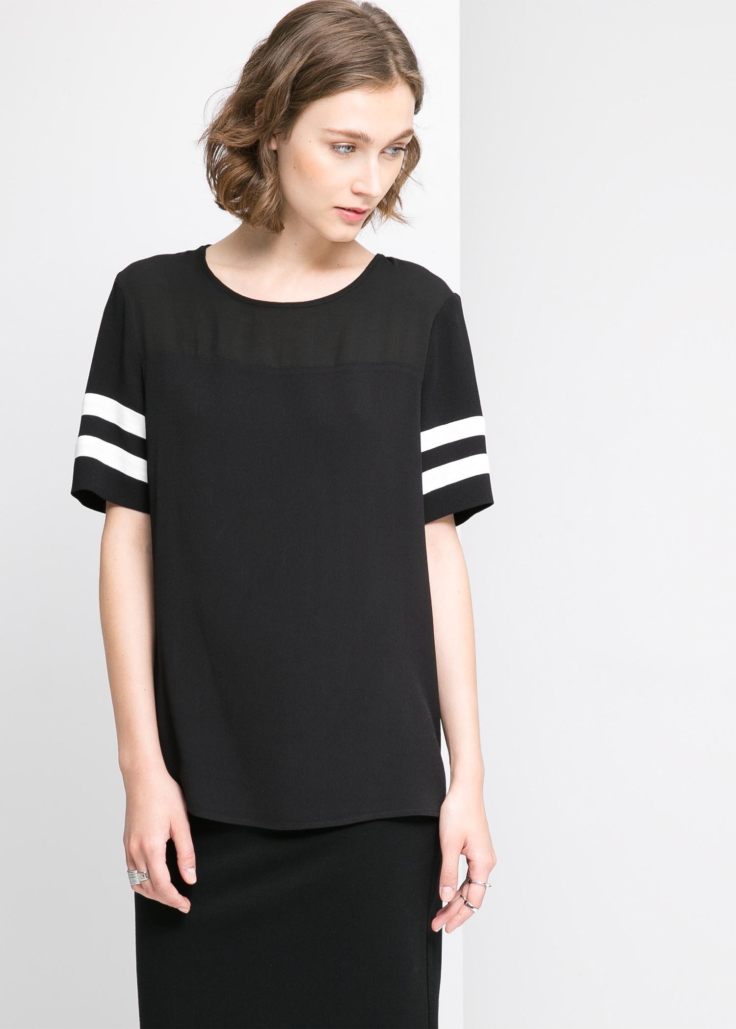 Blouse manches contrastantes - Blouses et chemises pour Femme | MANGO