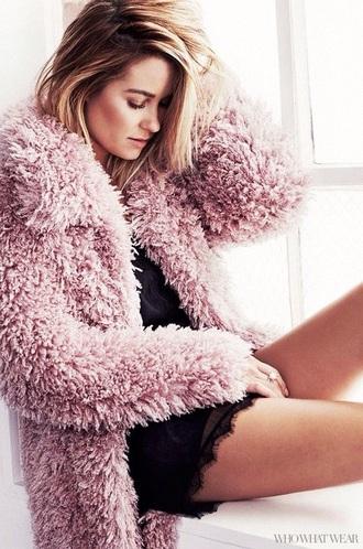 coat lauren conrad fuzzy coat pink coat