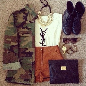 shorts brown jacket bag camouflage shoes shirt