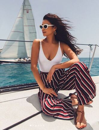 pants white top top swimwear one piece swimsuit shay mitchell instagram summer outfits summer top stripes striped pants