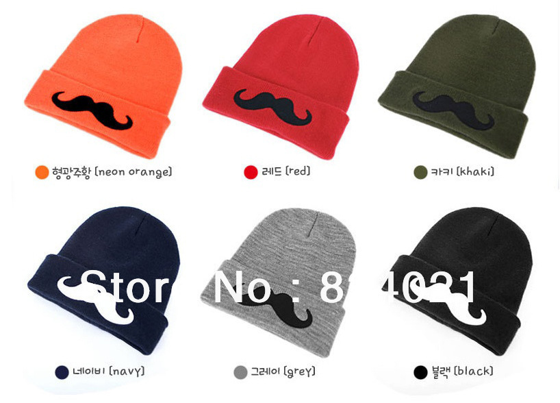 High quality women's winter mink hat moustache pattern girl knitted caps kazakhstan accessories for knitting