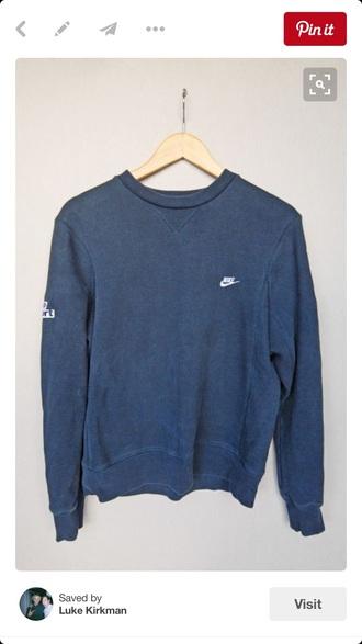 sweater nike original 80s style sweatshirt blue crewneck crewneck sweatshirt crewneck sweater nike nike sweatshirt