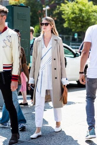 shirt long shirt striped shirt pants white pants coat camel coat trench coat sunglasses streetstyle stripes