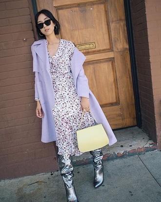 coat lilac lilac coat floral dress floral boots silver boots metallic sunglasses midi dress