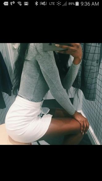 shirt long sleeves grey ribbed tumblr