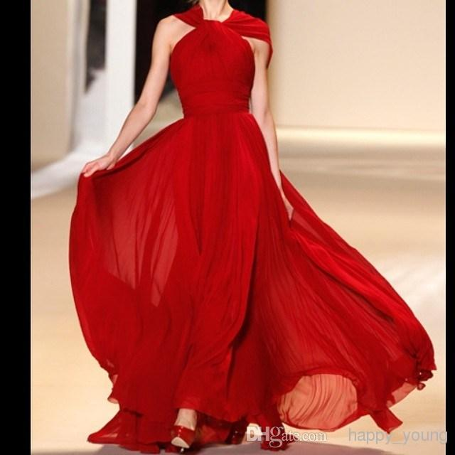 Discount Hot Selling Prom Dresses 2014 Halter Red Chiffon Ruched A Line Floor Length Backless Party Gowns Prom Evening Dresses Online with $87.92/Piece | DHgate
